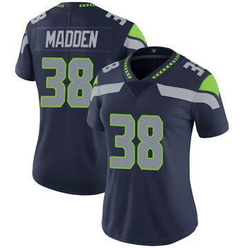 Women's Nike Seattle Seahawks Tre Madden Navy 100th Vapor Jersey - Limited