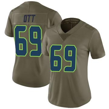 Women's Nike Seattle Seahawks Tyler Ott Green 2017 Salute to Service Jersey - Limited