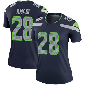 Women's Nike Seattle Seahawks Ugochukwu Amadi Navy Jersey - Legend