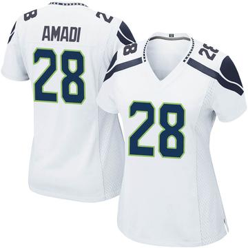 Women's Nike Seattle Seahawks Ugochukwu Amadi White Jersey - Game