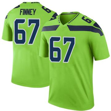 Youth Nike Seattle Seahawks B.J. Finney Green Color Rush Neon Jersey - Legend