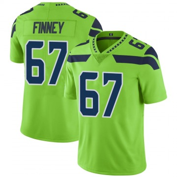 Youth Nike Seattle Seahawks B.J. Finney Green Color Rush Neon Jersey - Limited