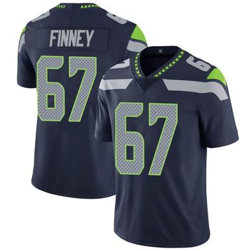 Youth Nike Seattle Seahawks B.J. Finney Navy 100th Vapor Jersey - Limited