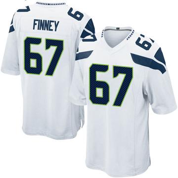 Youth Nike Seattle Seahawks B.J. Finney White Jersey - Game