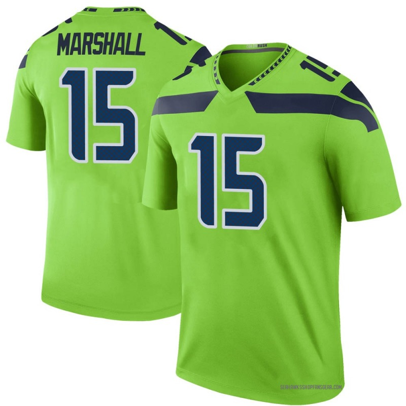 reputable site bde79 103e7 Youth Nike Seattle Seahawks Brandon Marshall Green Color Rush Neon Jersey -  Legend