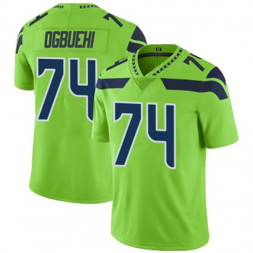 Youth Nike Seattle Seahawks Cedric Ogbuehi Green Color Rush Neon Jersey - Limited