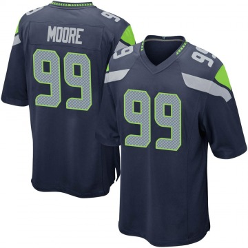 Youth Nike Seattle Seahawks Damontre' Moore Navy Team Color Jersey - Game