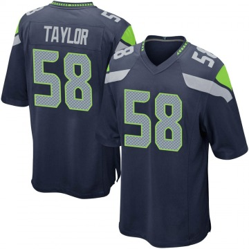Youth Nike Seattle Seahawks Darrell Taylor Navy Team Color Jersey - Game