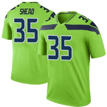 Youth Nike Seattle Seahawks DeShawn Shead Green Color Rush Neon Jersey - Legend