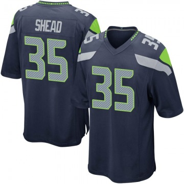 Youth Nike Seattle Seahawks DeShawn Shead Navy Team Color Jersey - Game