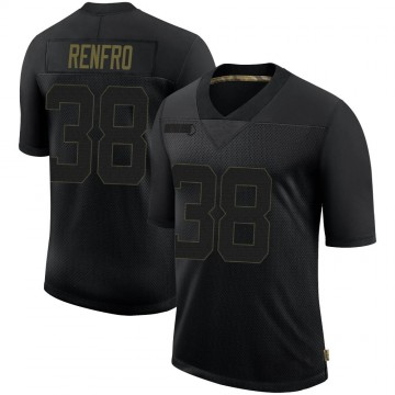 Youth Nike Seattle Seahawks Debione Renfro Black 2020 Salute To Service Jersey - Limited