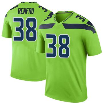Youth Nike Seattle Seahawks Debione Renfro Green Color Rush Neon Jersey - Legend
