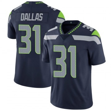 Youth Nike Seattle Seahawks DeeJay Dallas Navy 100th Vapor Jersey - Limited