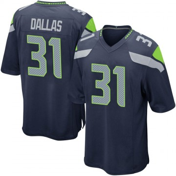 Youth Nike Seattle Seahawks DeeJay Dallas Navy Team Color Jersey - Game