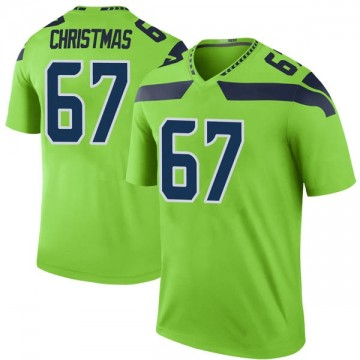 Youth Nike Seattle Seahawks Demarcus Christmas Green Color Rush Neon Jersey - Legend