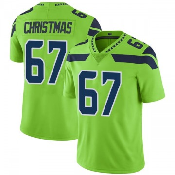Youth Nike Seattle Seahawks Demarcus Christmas Green Color Rush Neon Jersey - Limited