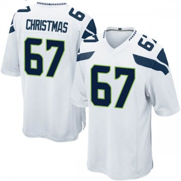 Youth Nike Seattle Seahawks Demarcus Christmas White Jersey - Game