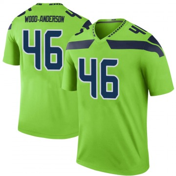 Youth Nike Seattle Seahawks Dominick Wood-Anderson Green Color Rush Neon Jersey - Legend