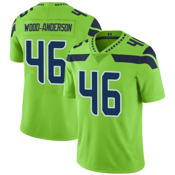 Youth Nike Seattle Seahawks Dominick Wood-Anderson Green Color Rush Neon Jersey - Limited