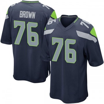 Youth Nike Seattle Seahawks Duane Brown Brown Navy Team Color Jersey - Game