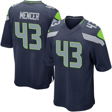 Youth Nike Seattle Seahawks Eli Mencer Navy Team Color Jersey - Game