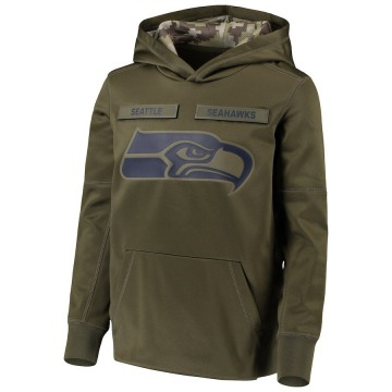 Youth Nike Seattle Seahawks Green 2018 Salute to Service Pullover Performance Hoodie -