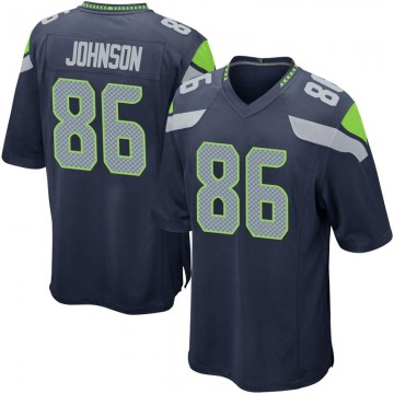 Youth Nike Seattle Seahawks Justin Johnson Navy Team Color Jersey - Game