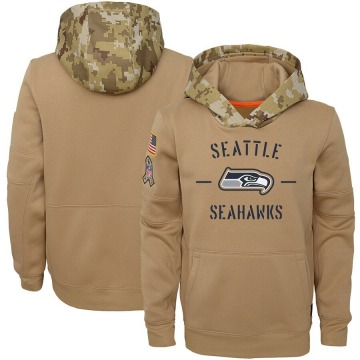 Youth Nike Seattle Seahawks Khaki 2019 Salute to Service Therma Pullover Hoodie -