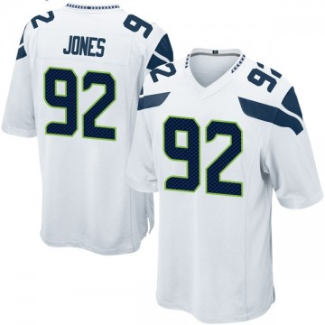 Youth Nike Seattle Seahawks Nazair Jones White Jersey - Game