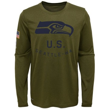 Youth Nike Seattle Seahawks Olive 2018 Salute to Service Performance Long Sleeve T-Shirt - Legend