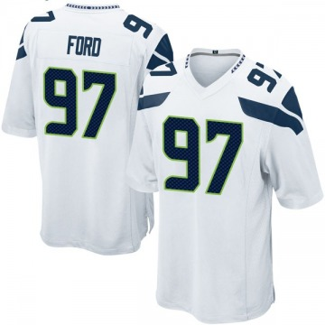Youth Nike Seattle Seahawks Poona Ford White Jersey - Game