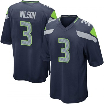 Youth Nike Seattle Seahawks Russell Wilson Navy Team Color Jersey - Game