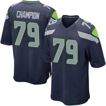 Youth Nike Seattle Seahawks Tommy Champion Navy Team Color Jersey - Game