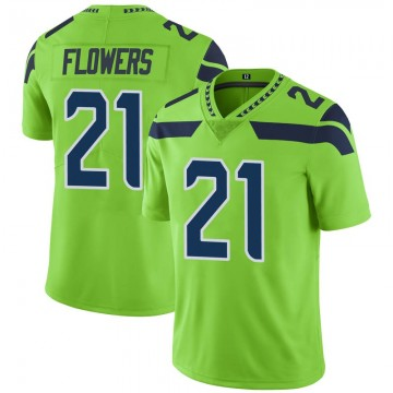 Youth Nike Seattle Seahawks Tre Flowers Green Color Rush Neon Jersey - Limited