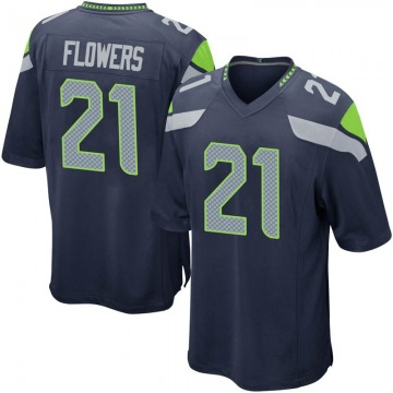 Youth Nike Seattle Seahawks Tre Flowers Navy Team Color Jersey - Game