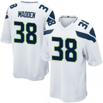 Youth Nike Seattle Seahawks Tre Madden White Jersey - Game