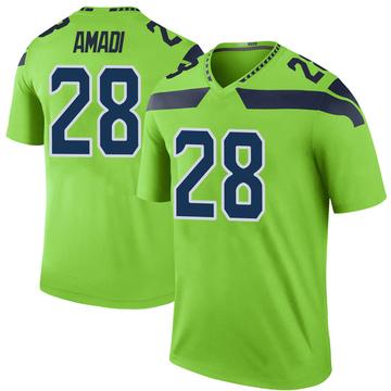 Youth Seattle Seahawks Ugochukwu Amadi Green Color Rush Neon Jersey - Legend